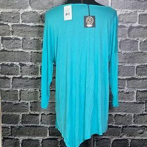 bobeau Tops - NWT Bobeau Turquoise Asymmetrical Rayon Tunic M